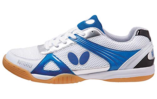 Butterfly Lezoline Trynex Table Tennis Shoes with Superior Grip - Stylish Shoes for Ping Pong - White & Blue or White & Red Shoes – Men or Women Sneakers, 55