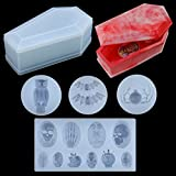 Palksky 5 Pieces Coffin Resin Silicone Molds Set, Casket Box Epoxy Casting Mold with Skulls Bat Spider Owl Molds for DIY Jewelry Craft Making