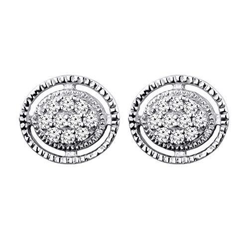 Dazzlingrock Collection Pendientes de tuerca de diamante blanco redondo de 0,12 quilates (quilates), de forma ovalada, disponibles en metal de oro de 10 K/14 K/18 K y plata de ley 925.