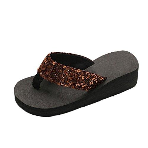 Yesmile Sandalias para Mujer Zapatos Casual de Mujer Sandalias de Verano para Fiesta y Boda Sandalias Antideslizantes de Verano para Mujer Sandalias de Casa Chanclas Interior y Exterior (38, Café)