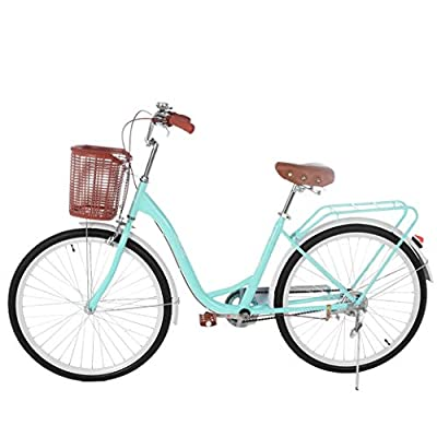 "Women's Classic Beach Cruiser Bicycle, 26"" Wheels, White with Black Seat and Grips-?U.S. Shipping? (Blue)"