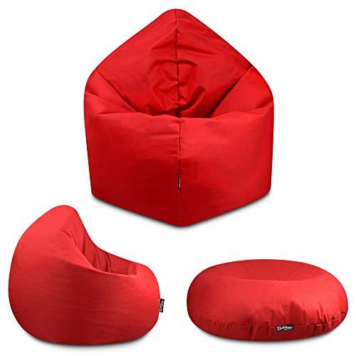 2in1 Sitzsack Bodenkissen Outdoor Sitzsäcke Indoor Beanbag in 32 Farben & 3 Größen wählbar Sitzkissen Kinder Yoga Kissen Erwachsene Schule Kindergarten (Rot-100 cm)
