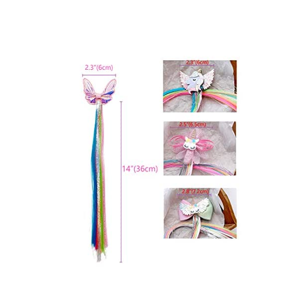 Sunormi 4 Pcs Multi-Colors Princess Kids Hair Clips In 15 Inch Straight Synthetic Hair Extensions Unicorn Butterfly Ponytails Hair Hairpieces For Girls Daily Dress Up 7