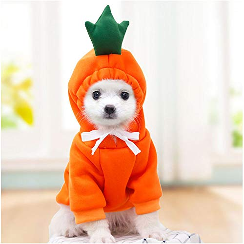 Dog Hoodie Clothes- Dog Basic Sweater Coat Cute Carrot Shape Warm Jacket Outdoor Pet Cold Weather...