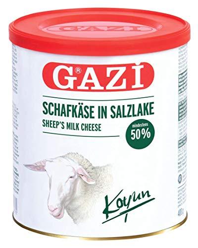 Gazi Schafskäse in Salzlake - 1x 400g Metalldose - Schafkäse Schaf Käse Koyun peyniri 50% Fett i.Tr. aus 100% Schafmilch, mild, mikrobielles Lab, vegetarisch, glutenfrei, zu Börek, zu Salat
