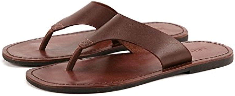 HHF Flat Sandals och Slippers, Slippers, Slippers, sommar Man mode Leisure Slippers, Genuine läder Flip Flops for Man, Vintage Casual strand Sandals Non -Slip skor skor  onlinebutik