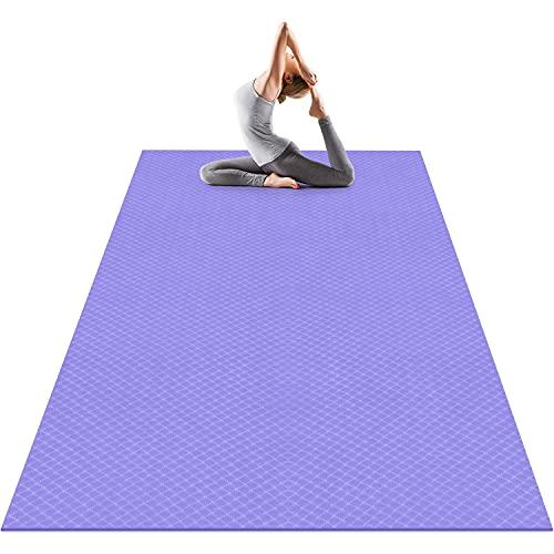 Odoland Esterilla de Yoga Grande 183 x 122 x 0.6 cm, Alfombrilla Deporte 6mm Grueso de Ecológico TPE, Antideslizante, Colchoneta de Pilates, Estiramientos, Gimnasia en Casa o en Gimnasio, Lila
