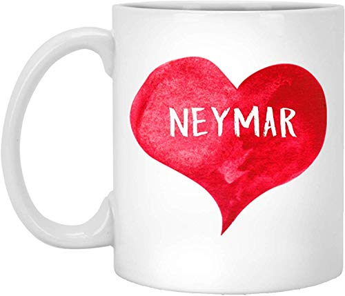 Teetasse, weiß, I Love Neymar Tasse mit Herzform, personalisierbar, 313 ml