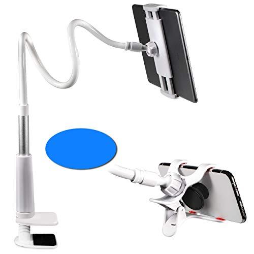 Gooseneck Phone Holder - Gooseneck Tablet Holder with Bonus Cradle - Cell Phone Holder for Desk and Bed - 45' Extra Long Gooseneck Tablet Holder - iPhone iPad Holder for Bed - White