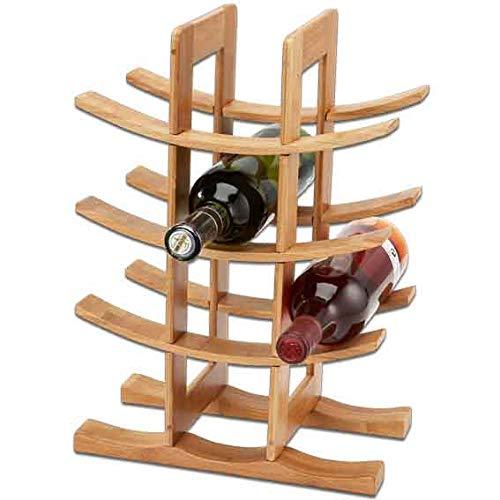 FIDON Botellero de Vino, para 12 Botellas, Bambu, Color marrón, 30X16X42cm, botellero Curvada, Estante de Madera para Vino Almacenamiento para Botellas, Decoracion de hogar (2 uds)