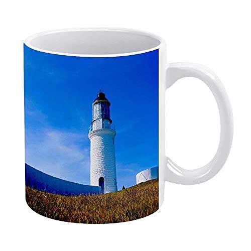 N\A Lighthouse-Landscape-matsu-Islands-Assault-View - Taza, Taza de café Blanca novedosa, Divertida, Tazas para mamá, papá, niñas Adolescentes, 11 oz