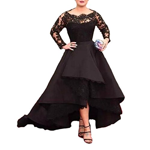 Fair Lady Long Sleeves Sheer Black Lace Prom Dresses Ball Gown Evening Formal Dress
