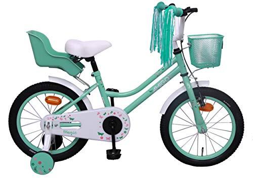 Amigo Magic - Bicicleta Infantil de 16 Pulgadas - para niñas 4 a 6 años - con V-Brake, Freno de Retroceso, Cesta, Asiento para muñecas, Timbre y ruedines - Turquesa
