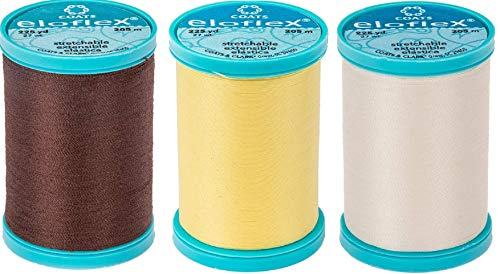 CESDes Bundle of 3 Coats Eloflex Streatch Thread: Black, Silver, and White 225 yds ea Polyester (Black Silver wht)