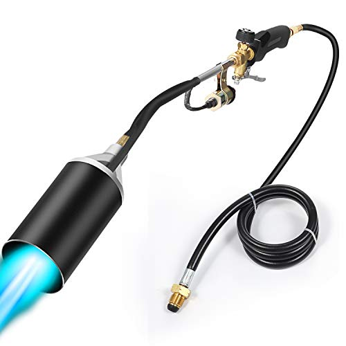 Propane Torch Weed Burner Torch,Blow Torch, flamethrower,Weed Torch with Push Button Igniter and 6.5 ft Hose Outdoor Torch Kit -Ideal for burning weeds, melting ice and snow, pipes, Roofing, Roads