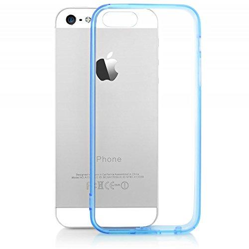NALIA Custodia compatibile con iPhone SE 5 5S, Cover Protezione Slim Case Protettiva Trasparente Cellulare in Silicone con Bordi Gomma Clear Copertura Sottile Telefono Bumper - Blu