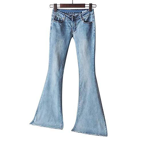 Shujin Damen Retro Jeanshose Bootcut Flared Jeans Mittlere Taille Weites Bein Hüftjeans Stretch Denim Schlagjeans Schlaghose