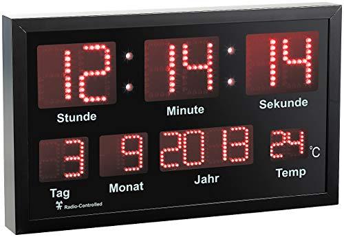 Lunartec Funkuhr: LED-Funk-Tisch- und Wanduhr mit Datum und Temperatur, 412 rote LEDs (Funkuhr LED)