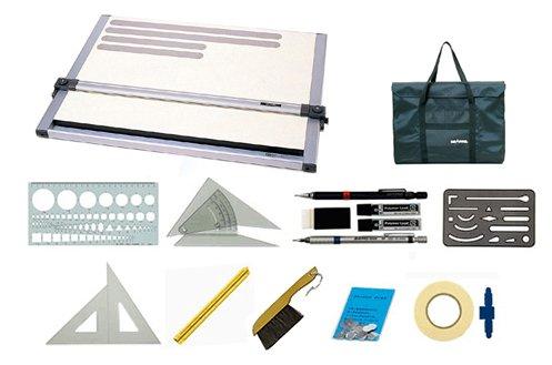 建築士試験対応 A2平行定規(マグネットボード仕様)+専用携帯バッグ(防水生地)+オリジナル製図用具セット