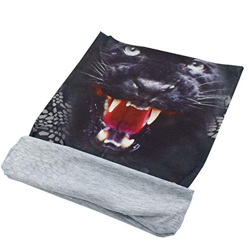 TRIXES Black Panther Animal Design - Écharpe tubulaire en bandoulière Bandana 65 - Tête pare-vent résistant au vent - pour les sports motocyclistes - Polyester extensible - Unisex - Taille unique