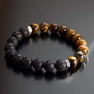 Tiger Eye - Lava Stone Essential Oil Diffuser Bead Bracelet Chakra Energy Balance for Men and Women 10mm 8mm