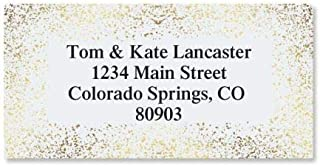 Gold Speckles Foil Personalized Border Return Address labels- Set of 144 Large Self-Adhesive, Flat-Sheet labels, By Colorful Images