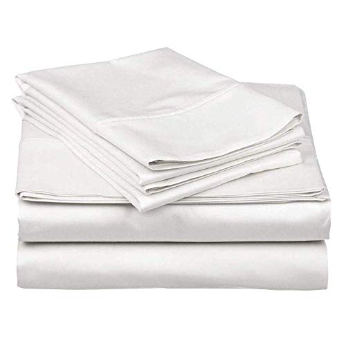 Queen Size Sheet Set 4-Piece-Set 100% Egyptian Cotton Sheets 600 Thread Count Bed-Sheet-Set 16 Inch Deep Pocket of Fitted Sheet (Queen, White Solid)