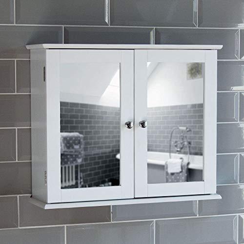 Bath Vida Priano Double Door Mirrored Bathroom Cabinet Storage Cupboard Wall Mounted, White