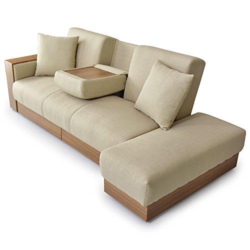 DORIS ソファーベッド シングル 収納 引き出し スツール ソファベッド テーブル付き 幅206cm ファブリック ベージュ ナトゥーラ