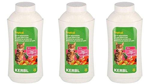 Cajou 11,66€/kg Deo Kontentrat 3 x 700 g (2,1 kg) für Katzentoilette Duftpuder (Tropical)
