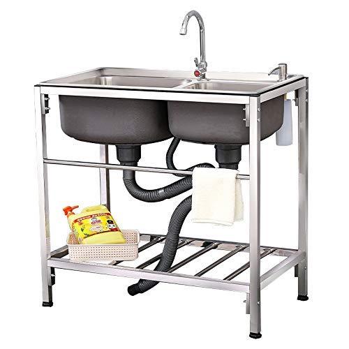 LVGJX Fregadero de Doble Ranura, Almacenamiento de Acero Inoxidable con Cesta de Drenaje, Dispositivo de Lavado de Manos para lavavajillas Adecuado para Cocina, Restaurante, hogar