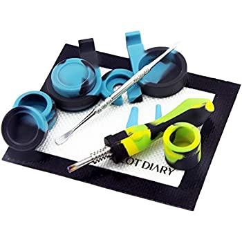 """Silicone Honey Straw PILOTDIARY Silicone Honey Straw Kit, 4.5"""" w/Silicone Wax Carving Kit Yellow/Green/Black"""