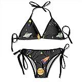 CC Decoration Espacio Exterior Nave Espacial Lazo de Mujer Lado Fondo Inferior Triángulo Bikini Trajes de baño Trajes de baño