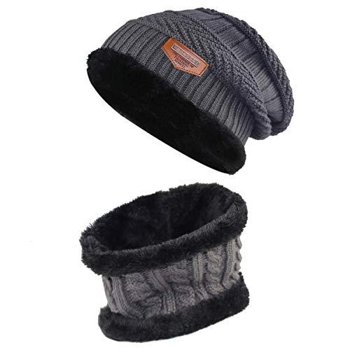 Momoon Dicke Beanie Hut +Schal Set Winter Warmen Schnee Knit Skull Cap für Kinder Jungen Mädchen(Suitable for 6-14, Grau, one size(fit teenager 6-14)