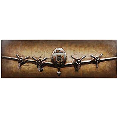 Empire Art Direct Airplane Metal, Hand Painted Primo Mixed Media Iron Sculpture, Decor,Ready to Hang from