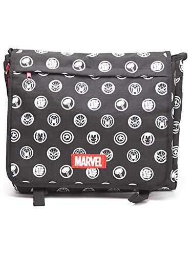 Marvel COMICS All-Over Hero Crests, Unisex, Rojo (Mb110902Mar) Messenger Bag, 46 cm, Negro