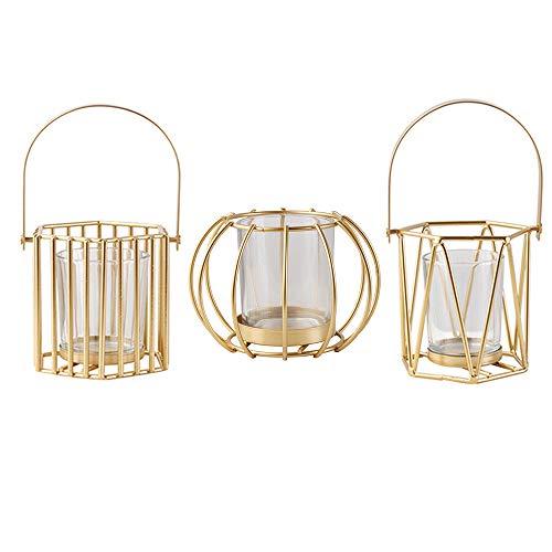 Wuudi Kerzenhalter aus Schmiedeeisen, Kerzenständer Hohl Out Vintage Eisen Hochzeit Dekoration Tischdekoration Golden