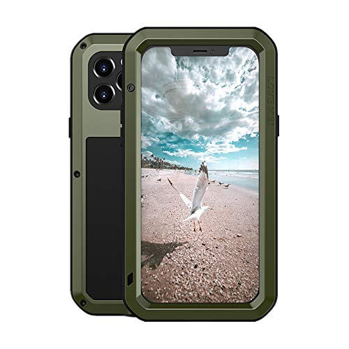 LOVE MEI Funda para iPhone 12 Pro, Heavy Duty al Aire Libre de Armadura Metal Estuche Protectora Carcasa Antigolpes Impermeable a Prueba de Polvo Cubierta con Vidrio Templado (Verde)