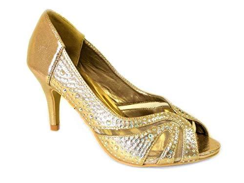 Zapatos de corte de diamante para mujer, con puntera de peine, para...