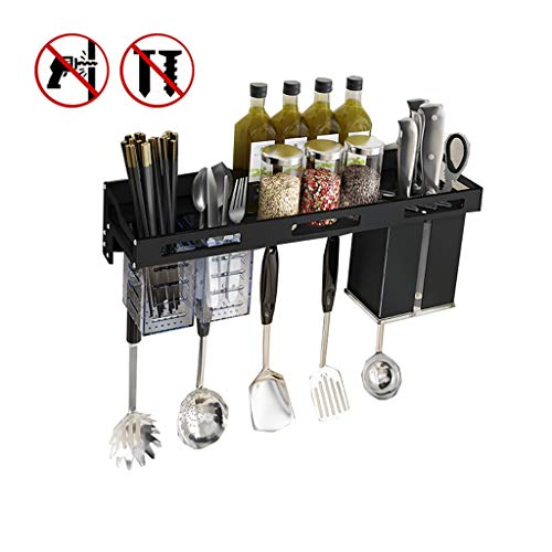 Kitchen Wand-Floating Planken Huis Kruidenrek Chopsticks Knife Storage Rack Holder Punch-vrije Kitchen Rekgeleiders Met Afneembare Haken (Color : C)