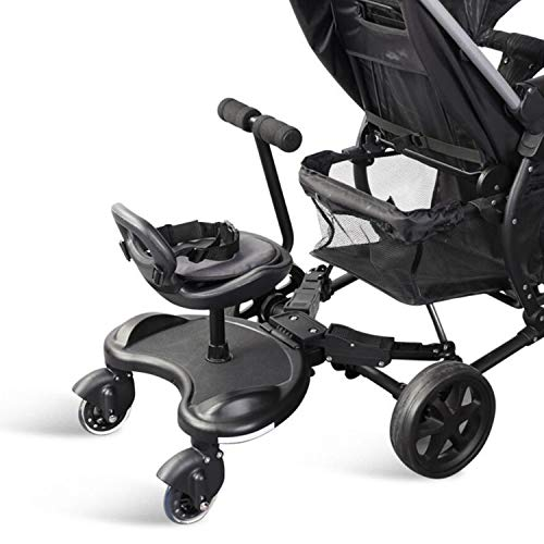 Buggy Board con asiento, adecuado para accesorios de cochecito de menos de 1 a 11 años, con una carga máxima de 25 kg, compatible con el 95% de los cochecitos (rueda luminosa)