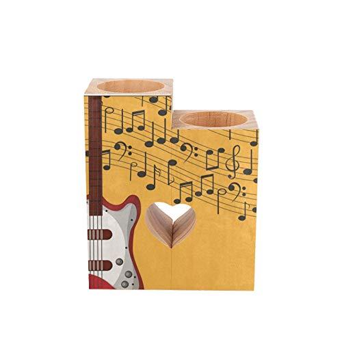 Portavelas de madera, color amarillo y negro, nota musical, guitarra roja, forma de corazón, para parejas, velas de madera, decoración de mesa, regalo para cumpleaños,...