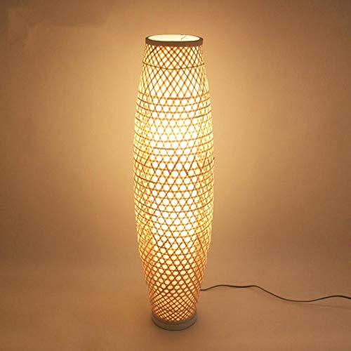 JSJJARF Lampara de pie El bambú de Mimbre Rattan Sombra Vaso de Piso rústico Accesorio de la lámpara japonés asiático Nordic Light Art (Lampshade Color : Bamboo)