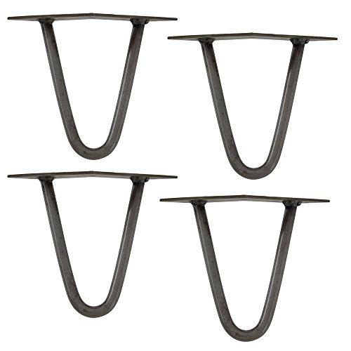 [en.casa] Pieds de Table en épingles à Cheveux – Set de Pieds de Table en épingles à Cheveux (4 piéces) - 15 cm - Argent