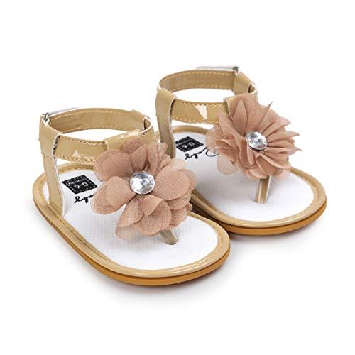 Sandali da Bambina - 3D Fiori Bowknot T-Strap Scarpe per Neonata Estive Scarpine Primi Passi - Scarpe Bambino con Suole Morbide Elegante e Bello Battesimo Scarpe 6-18 Mesi