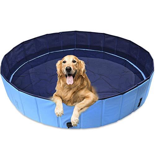 Bañera Plegable de Mascotas Baño Portátil para Animales Piscina para Perros y Gatos Piscina Extra Grande Niños PVC Antideslizante y Resistente Adecuado para Interior Exterior Aire Libre(M:Ø120x30cm(H)