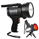 BIGSUN Rechargeable Spotlight, LED Flashlight High Lumens 100000 Candlepower, 10800mAh Power Bank, With Red Lens, Side Floodlamp & Red Blue Warning Lamp for Home Security, Camping, Hunting, Car, Boat