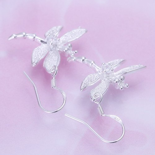 Ecloud Shop Moda Plata 925 Pendientes de la libélula del Diamante