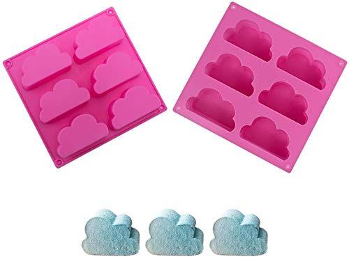2 Piezas Nubes de Patrón Molde Pastel, NALCY molde de Silicona para jabón, Silicona Molde De La Hornada, Molde Multifunción para Hacer Pudín de jabón, Gelatina y Chocolate