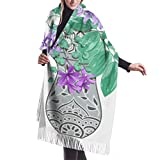 Écharpe d'hiver unisexe, énorme bouquet floral fleurs exotiques tropicales longues grandes écharpes chaudes Wrap châle étole